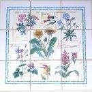 """Botanical  Herb Ceramic Tile Mural 9 pcs 4.25"""" Flower Garden Kiln Fired Back splash Decor"""