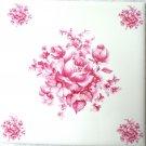 """Pink Rose Flower Ceramic Tiles 4.25"""" x 4.25"""" Kiln Fired Back Splash Decor"""