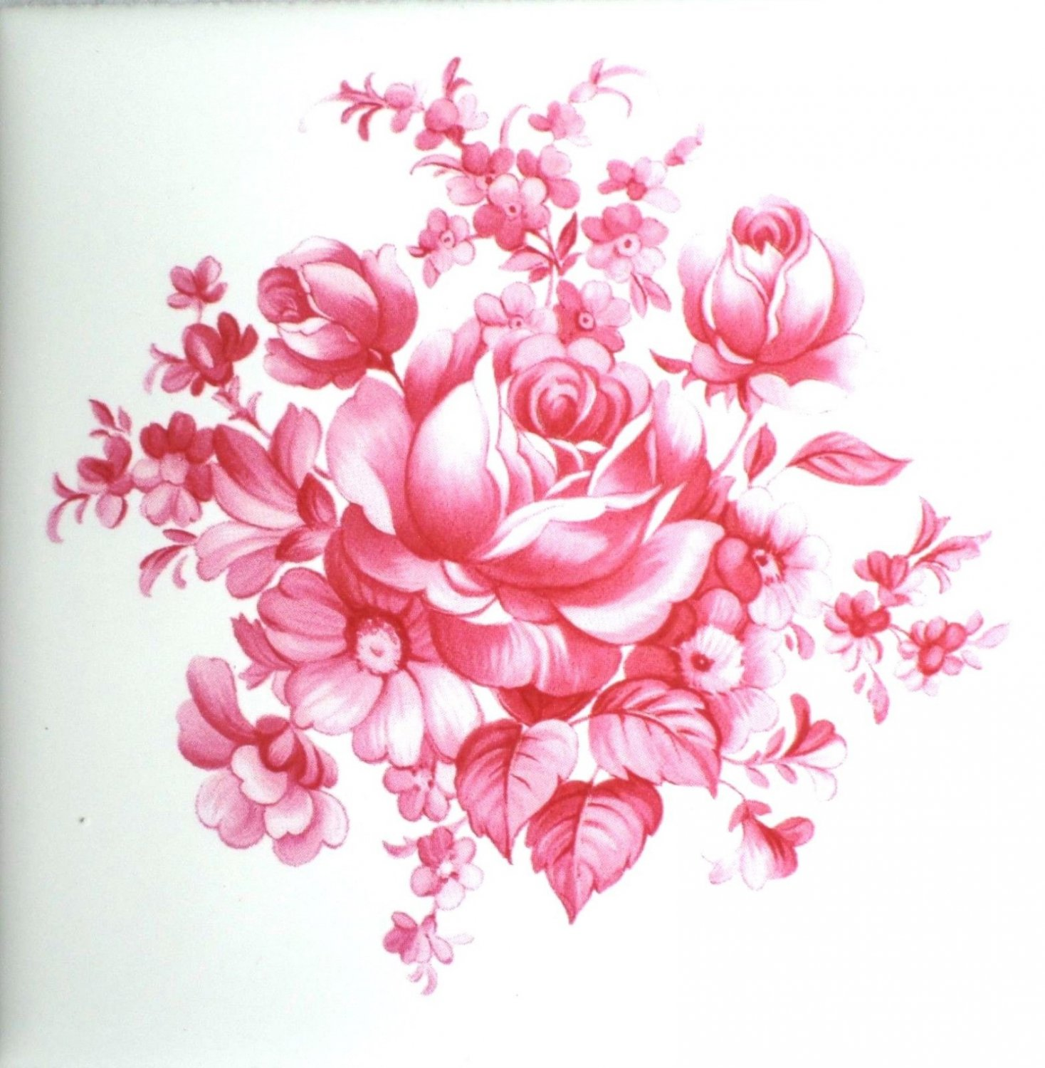 Rose Pink Flower 425 Kiln Fired Ceramic Tile Backsplash Decor