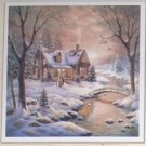 "Winter Cabin Ceramic Tile 4.25"" x 4.25"""" Kiln Fired Decor"