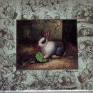 "Black and White Bunny Rabbit Ceramic Tile Acct 4.25"" x 4.25""Hare Kiln Fired"