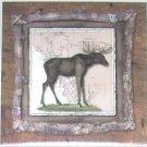 """Alaskan Moose Ceramic Tile 6.00"""" x 6.00"""" Kiln Fired Wild Life Decor"""