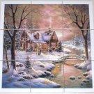 """Winter Ceramic Tile Mural Woods Cabin Stream 9 of 4.25"""" Backsplash Kiln Fired"""