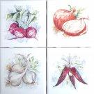 "Garden Vegetable Beets Garlic Set 4 Ceramic Tile 4.25"" Kiln Fired Back Splash"
