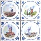 "Nautical Ceramic Tile Set /4 Kilnfired 4.25"" Wind Mills Delft Theme Design"