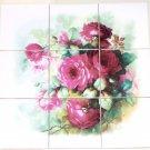 "Rose Ceramic Tile Mural Back Splash 9pcs 4.25"" x 4.25"" Kiln Fired Decor"