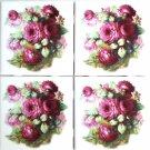 """FOUR Rose Ceramic Tile Back Splash 4pcs 4.25"""" x 4.25"""" Accents Kiln Fired Decor"""