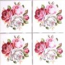 """Four Summer Bloom Roses Flower Pink Ceramic Tile 4.25"""" x 4.25"""" KilnFired Decor"""