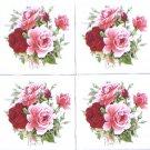 """FOUR Summertime Rose Flower 4.25"""" x 4.25"""" Kiln Fired Ceramic Tile Decor"""
