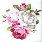 """Green Humming Bird Rose Ceramic Tile 4.25"""" x 4.25""""  Flower Kiln Fired Back Splash Accent"""