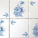 """Blue & White Delft Design Swansea and Rose Ceramic Tile 6 - 4.25"""" Kiln Fired"""