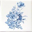 """Blue & White Delft Design Swansea and Rose Ceramic Tile 4.25"""" 4.25"""" Kiln Fired"""