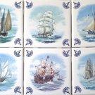 """Sailing Ships Delft Design Kiln Fired Ceramic Tiles Blue Set of 6 /4.25"""""""