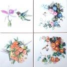 "CLOSEOUT Hummingbird Flower set of 4 Ceramic Tile size 6"" x 6"" Decor Bird"