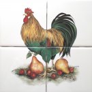 """Rooster with Pears Ceramic Tile Mural Back Splash 4 pc 4.25"""" x 4.25"""""""