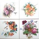 "CLOSEOUT Pretty Hummingbird Flower set of 4 Ceramic Tile 6"" x 6"" Decor Bird"