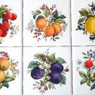 """Fruit Ceramic Accent Tiles Lemons Plums 6 / 4.25"""" Kiln Fired Decor Back Splash"""