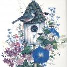 """Song Bird Blue Morning Glory Flowers Ceramic Tile 4.25"""" x 4.25"""" Kiln Fired Decor"""