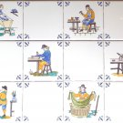 "Delft Decorated Design Tiles set of 6 Various Craftsmen  6"" x 6"" set of 12 tiles Kiln Fired."