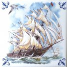 """Sailing Ship Ceramic tile 6"""" x 6"""" kiln fired back with Corners Pacific Monsoon"""