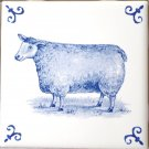 "Blue Delft Design Sheep Lamb Ceramic Tile 4.25"" Kiln Fired Decor"
