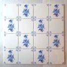 """Ceramic Tile and White Delft Design  16 piece 4.25"""" x 4.25"""" Kiln Fired Decor"""
