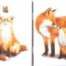 "Fox Family set of TWO Tiles  Ceramic Tile 4.25"" Wild Life Collection Kiln Fired Decor Back Splash"