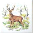 """Deer Buck Ceramic Tile 4.25"""" Kiln Fired Wild Life Tile"""