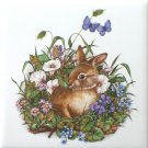 "Baby Brown Wild Life Rabbit Bunny Kiln Fired 4.25"" x 4.25"""