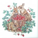 """Brown Rabbits and Strawberry Basket 4.25"""" x 4.25"""" Ceramic Tile Wild Life"""