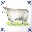"Sheep Delft Design Ceramic Tile 6"" x 6"" Kiln Fired Back Splash Decor"