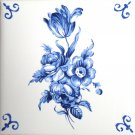 "Blue Tulip Rose Tile with Ox Tail Corners Kiln Fired Delft Design 4.25"" x 4.25"""