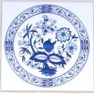 "Closeout Blue Onion 4.25"" x 4.25"" Kiln Fired Ceramic tile"