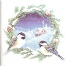 "Winter Chickadee Song Bird Pair Song Bird Ceramic Tile 4.25"" x 4.25"" Kiln Fired"