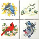 "Decor G Cardinal Bird set of 4 Ceramic Tiles 4.25"" x 4.25"" Kiln Fired Decor"