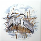 "Heron Ceramic Tile Kiln Fired 6"" x 6"" Water Fowl Bird"
