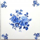 "Blue Rose Ceramic Tile 6"" x 6"" with rose design corners #2"