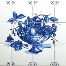 "Blue Fruit Delft Theme Ceramic Tile Mural 17"" x 12.75"" Sienna Rose Corners #2"