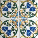 "Tile Designs Blue Yellow Green Ceramic Tile Mural Back Splash 4 pc 4.25"" x 4.25"""