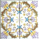 "Tile Designs Yellow Lavender Ceramic Tile Mural Back Splash 4 pc 4.25"" x 4.25"""