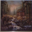 "Bear Cabin 4.25"" x 4.25"" Ceramic Tile Woods Stream Kiln Fired tile."