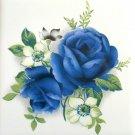 """One Blue Rose Flower 4.25"""" x 4.25"""" Kiln Fired Ceramic Tile Decor"""