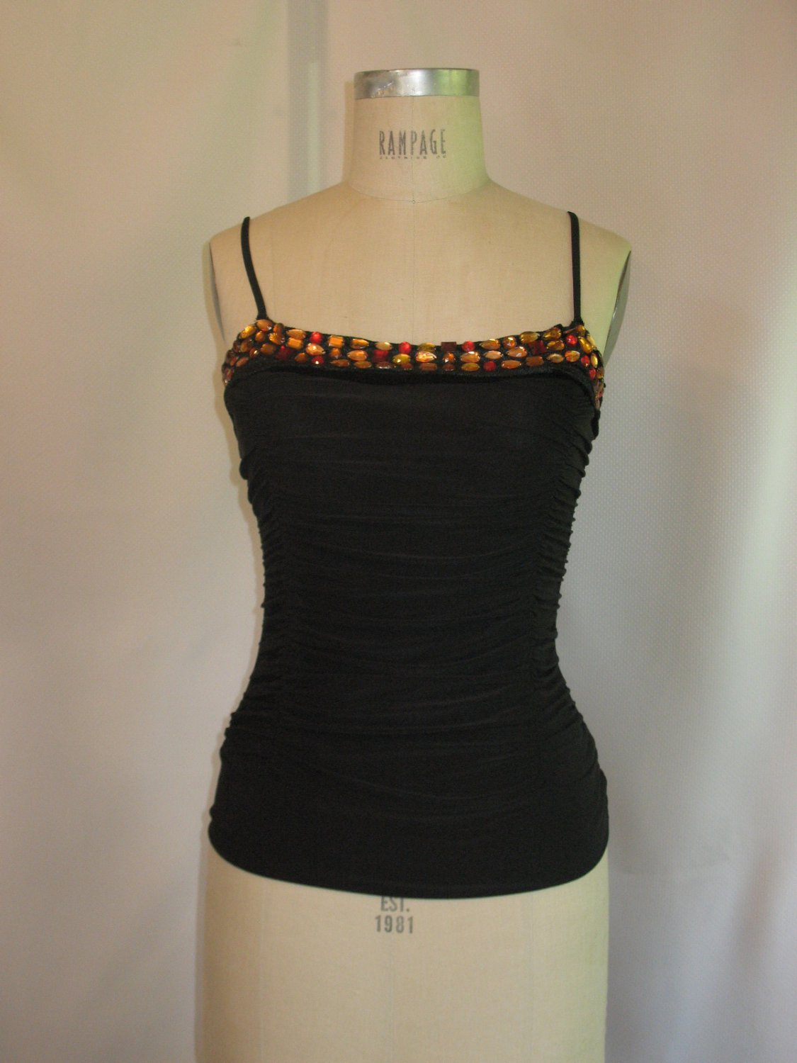 Wink M/L Black Shirred Tank Top Contrast Jeweled Neckline