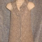 Banana Republic Sleeveless Silk Blouse Lace Pattern Ruffle xs
