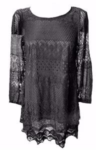NEW VINTAGE BLACK LACE DRESS TUNIC-12 gothic party evening wicca boho hippie