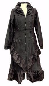 NEW Gothic Black long Victorian steampunk cloak coat dress gown-s-10 12 14 16