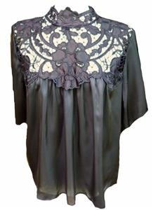 BLACK silky BLOUSE TUNIC swing top high neck lace victorian STEAMPUNK gothic