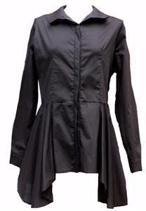 NEW black cotton long pleated shirt asymmetrical-14 victorian steampunk gothic