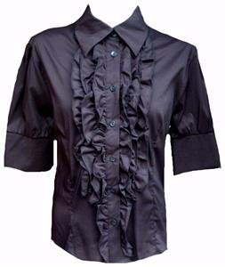 NEW BLACK RUFFLE COTTON BLOUSE SHIRT-14 16 victorian steampunk pirate lolita