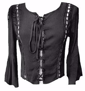 NEW BLACK LACED CORSET BLOUSE SHIRT TUNIC10-12  victorian STEAMPUNK gothic wicca